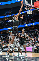 WASHINGTON, DC - FEBRUARY 19: Qudus Wahab #34 of Georgetown watches a  shot by Emmitt Holt #15 of Providence during a game between Providence and Georgetown at Capital One Arena on February 19, 2020 in Washington, DC.