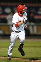 Harrisburg Senators third baseman Sean Nicol (6) runs to first during a game against the New Britain Rock Cats on April 28, 2014 at Metro Bank Park in Harrisburg, Pennsylvania.  Harrisburg defeated New Britain 9-0.  (Mike Janes/Four Seam Images)