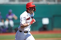 Cam Shepherd (7) of the Georgia Bulldogs hustles down the first base line against the LSU Tigers at Foley Field on March 23, 2019 in Athens, Georgia. The Bulldogs defeated the Tigers 2-0. (Brian Westerholt/Four Seam Images)