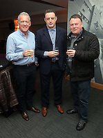 Pictured L-R: Alan Curtis, goalkeeping coach Tony Roberts and Huw Lakey <br /> Re: Swansea City FC Christmas party at the Liberty Stadium, south Wales, UK.