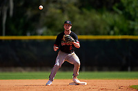 Omaha Mavericks second baseman Masen Prososki (6) during a game against the Dartmouth Big Green on February 23, 2020 at North Charlotte Regional Park in Port Charlotte, Florida.  Dartmouth defeated Omaha 8-1.  (Mike Janes/Four Seam Images)
