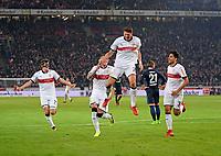 13.01.2018,  Football 1.Liga 2017/2018, 18. match day, VfB Stuttgart - Hertha BSC Berlin, in Mercedes-Benz-Arena Stuttgart. , v.li: Banjamin Pavard (Stuttgart), Daniel Ginczek (Stuttgart), Mario Gomez (Stuttgart), Berkay OEzcan (Stuttgart),  *** Local Caption *** © pixathlon<br /> <br /> +++ NED + SUI out !!! +++<br /> Contact: +49-40-22 63 02 60 , info@pixathlon.de