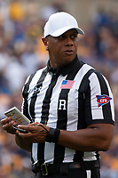 Referee Marcus Woods. The Pitt Panthers football team defeated the Albany Great Danes 33-7 on September 01, 2018 at Heinz Field, Pittsburgh, Pennsylvania.