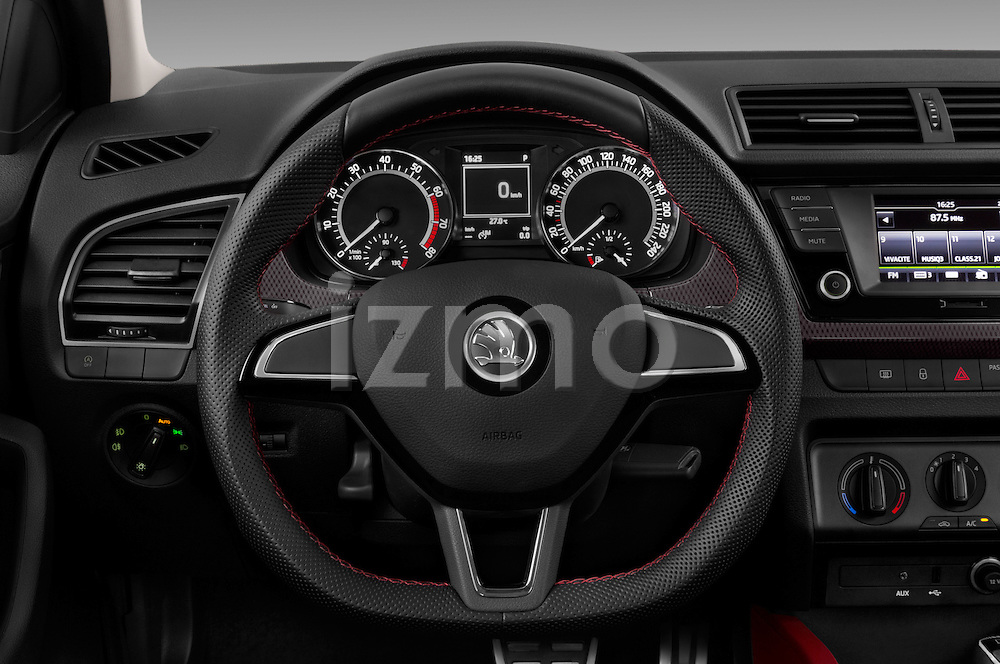 Car pictures of steering wheel view of a 2016 Skoda Fabia Monte-Carlo 5 Door Hatchback Steering Wheel