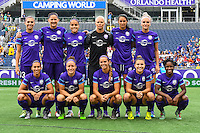 Orlando, FL - Sunday June 26, 2016: Orlando Pride Starting XI  prior to a regular season National Women's Soccer League (NWSL) match between the Orlando Pride and the Portland Thorns FC at Camping World Stadium.