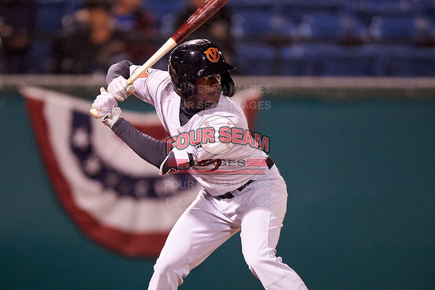 Visalia Rawhide right fielder Anfernee Grier (10) during a California League game against the San Jose Giants on April 12, 2019 at San Jose Municipal Stadium in San Jose, California. Visalia defeated San Jose 6-2. (Zachary Lucy/Four Seam Images)