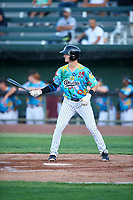 Idaho Falls Chukars Clay Dungan (20) at bat during a Pioneer League game against the Missoula Osprey at Melaleuca Field on August 20, 2019 in Idaho Falls, Idaho. Idaho Falls defeated Missoula 6-3. (Zachary Lucy/Four Seam Images)