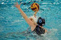 20200126 - GENT, BELGIUM : Gentse's (4) Sylvie Den Blauwen and Eeklo's (10) Frouke Ingels pictured during the waterpolo game Gentse KGZV and Eeklo MVZ , waterpolo game between Gentse KGZV and Eelko MVZ , at swimming pool Strop in Gent , saturday 1 th February 2020 . PHOTO SPORTPIX.BE | STIJN AUDOOREN