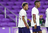 ORLANDO CITY, FL - JANUARY 31: Jesus Ferreira #9 of the United States scores a goal and celebrates during a game between Trinidad and Tobago and USMNT at Exploria stadium on January 31, 2021 in Orlando City, Florida.