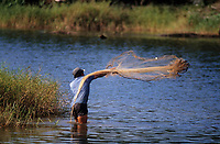Asie/Malaisie/Bornéo/Env de Sandakan: Pêche à l'épervier sur l'étang