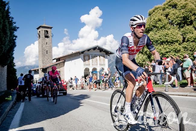defending champion Bauke Mollema (NED/Trek-Segafredo) up the Madonna del Ghisallo (754m)<br /> <br /> 114th Il Lombardia 2020 (1.UWT)<br /> 1 day race from Bergamo to Como (ITA/231km) <br /> <br /> ©kramon