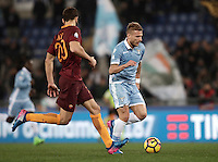 Calcio, Serie A: Roma, stadio Olimpico, 1marzo 2017.<br /> Lazio's Ciro Immobile (r) in action with Roma's Federico Fazio (l) during the Italian TIM Cup 1st leg semifinal football match between Lazio and AS Roma at Rome's Olympic stadium, on March 1, 2017.<br /> UPDATE IMAGES PRESS/Isabella Bonotto