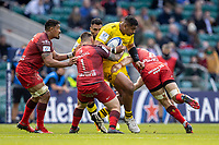 22nd May 2021; Twickenham, London, England; European Rugby Champions Cup Final, La Rochelle versus Toulouse; Victor Vito of La Rochelle is tackled by Cyril Baille of Toulouse