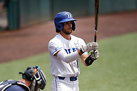 Duke Blue Devils shortstop Ethan Murray (1) at bat against the Liberty Flames in NCAA Regional play on Robert M. Lindsay Field at Lindsey Nelson Stadium on June 4, 2021, in Knoxville, Tennessee. (Danny Parker/Four Seam Images)