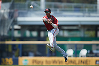 Rochester Red Wings shortstop Jecksson Flores (8) on defense against the Scranton/Wilkes-Barre RailRiders at PNC Field on July 25, 2021 in Moosic, Pennsylvania. (Brian Westerholt/Four Seam Images)