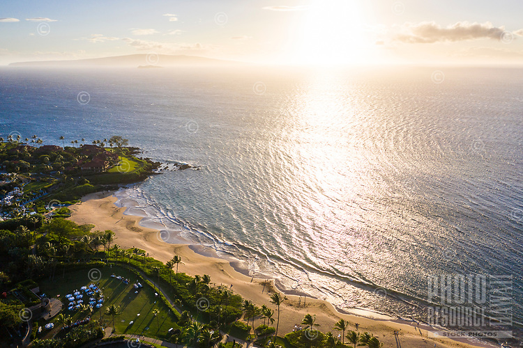 Aerial view of visitors enjoying Wailea Beach in the afternoon sun, Maui.