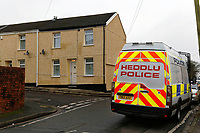 Pictured: Police at the house where the killing happened in Aberdare. Tuesday 19 December 2017<br /> Re: Natasha Jex (also known as Natasha Smith) has killed her husband Neil Jex (also known as Neal Jex) at their house in Aberdare, Wales, UK.