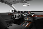 Stock photo of straight dashboard view of 2012-2014 Audi A6  Premium Plus 4 Door Sedan