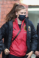 Belgian Marie Minnaert pictured entering the stadion during a friendly female soccer game between the national teams of Belgium , called the Red Flames and The Republic of Ireland , on sunday 11 th of April 2021  in Brussels , Belgium . PHOTO SPORTPIX.BE | SPP