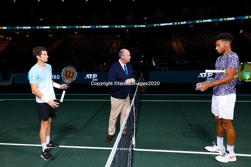 Rotterdam, The Netherlands, 14 Februari 2020, ABNAMRO World Tennis Tournament, Ahoy,  Felix Auger-Aliassime (CAN), Aljaz Bedene (SLO).<br /> Photo: www.tennisimages.com