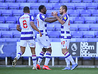 5th April 2021; Madejski Stadium, Reading, Berkshire, England; English Football League Championship Football, Reading versus Derby County;  George Puşcaş of Reading celebrates with his team after scoring in 54th minute 2-0