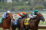 DEL MAR, CA  AUGUST 20:  #4 Edgeway, ridden by Joe Bravo, leads #5 Proud Emma, ridden by Mike Smith, and #3 Stellar Sound, ridden by Juan Hernandez, in the stretch of the Rancho Bernardo Handicap (Grade lll) on August 20, 2021 at Del Mar Thoroughbred Club in Del Mar, CA..  (Photo by Casey Phillips/Eclipse Sportswire/CSM)
