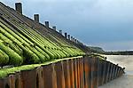 Happisburgh North Norfolk coastal erosion old sea defence wall. 2014