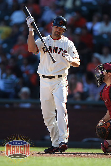 SAN FRANCISCO, CA - SEPTEMBER 3:  Xavier Nady #68 of the San Francisco Giants reacts after striking out against the Arizona Diamondbacks during the game at AT&T Park on Monday, September 3, 2012 in San Francisco, California. Photo by Brad Mangin