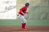 Mickey Moniak (22) of the Lakewood BlueClaws takes his lead off of second base against the Kannapolis Intimidators at Kannapolis Intimidators Stadium on April 7, 2017 in Kannapolis, North Carolina.  The BlueClaws defeated the Intimidators 6-4.  (Brian Westerholt/Four Seam Images)