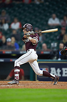 Jake Mangum (15) of the Mississippi State Bulldogs follows through on his swing against the Louisiana Ragin' Cajuns in game three of the 2018 Shriners Hospitals for Children College Classic at Minute Maid Park on March 2, 2018 in Houston, Texas.  The Bulldogs defeated the Ragin' Cajuns 3-1.   (Brian Westerholt/Four Seam Images)