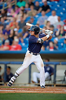 Lake County Captains right fielder Mitch Longo (39) at bat during the second game of a doubleheader against the West Michigan Whitecaps on August 6, 2017 at Classic Park in Eastlake, Ohio.  West Michigan defeated Lake County 9-0.  (Mike Janes/Four Seam Images)