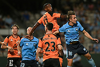 20th February 2021; Jubilee Stadium, Sydney, New South Wales, Australia; A League Football, Sydney FC versus Brisbane Roar; Golgol Mebrahtu of Brisbane Roar watches his header after beating Joel King of Sydney to the high crossed ball
