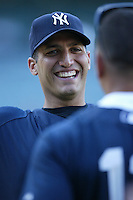 Andy Pettitte of the New York Yankees during batting practice before a 2007 MLB season game  against the Los Angeles Angels at Angel Stadium in Anaheim, California. (Larry Goren/Four Seam Images)