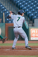 Shane Matheny (7) of the Augusta GreenJackets at bat against the Greensboro Grasshoppers at First National Bank Field on April 10, 2018 in Greensboro, North Carolina.  The GreenJackets defeated the Grasshoppers 5-0.  (Brian Westerholt/Four Seam Images)