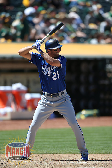 OAKLAND, CA - MAY 19:  Jeff Francoeur #21 of the Kansas City Royals bats during the game against the Oakland Athletics at O.co Coliseum on Sunday May 19, 2013 in Oakland, California. Photo by Brad Mangin