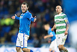 St Johnstone v Celtic.....26.12.13   SPFL<br /> Stevie May appeals for a penalty<br /> Picture by Graeme Hart.<br /> Copyright Perthshire Picture Agency<br /> Tel: 01738 623350  Mobile: 07990 594431