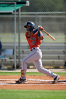 GCL Astros Franklin Pinto (21) at bat during a Gulf Coast League game against the GCL Cardinals on August 11, 2019 at Roger Dean Stadium Complex in Jupiter, Florida.  GCL Cardinals defeated the GCL Astros 2-1.  (Mike Janes/Four Seam Images)