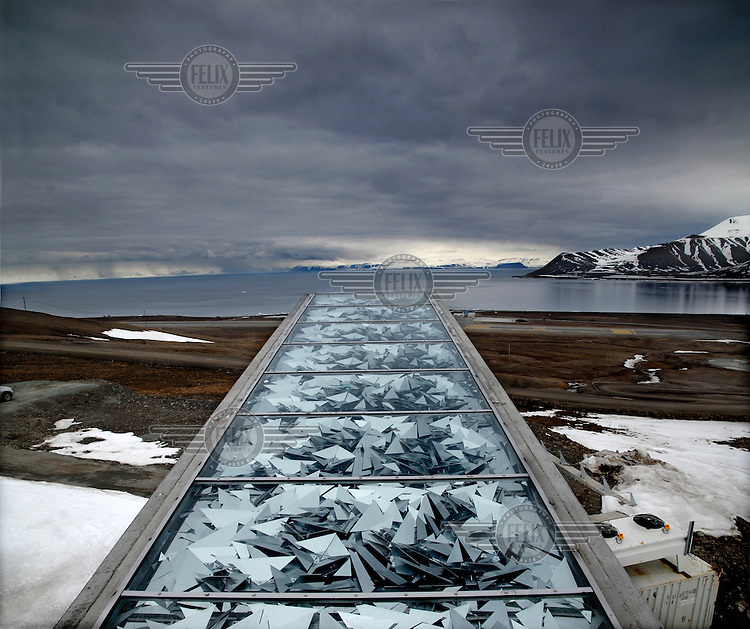 The roof of the entrance to the Svalbard Global Seed Vault. Underground are caverns containing seeds from all over the world.