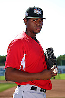 Tri-City ValleyCats pitcher Euris Quezada #44 poses for a photo before a game against the Batavia Muckdogs at Dwyer Stadium on July 15, 2011 in Batavia, New York.  Batavia defeated Tri-City 4-3.  (Mike Janes/Four Seam Images)