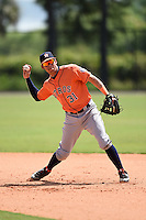 Houston Astros Kristian Trompiz (31) during practice before a minor league spring training game against the Detroit Tigers on March 25, 2015 at Tiger Town in Lakeland, Florida.  (Mike Janes/Four Seam Images)