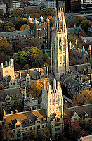 Aerial view, Branford College, Yale University, New Haven, CT  Harkness Tower (James Gamble Rogers = architect, 1933)