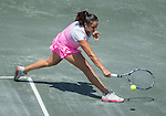Sara Sorribes Tormo (ESP)  defeats Shelby Rogers (USA)  7-5, 6-1 at the Family Circle Cup in Charleston, South Carolina on April 8, 2015.