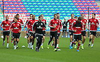 CARDIFF, WALES - SEPTEMBER 05: Players warm up during the Wales training session, ahead of the UEFA Euro 2016 qualifier against Israel, at the Cardiff City Stadium on September 5, 2015 in Cardiff, Wales.