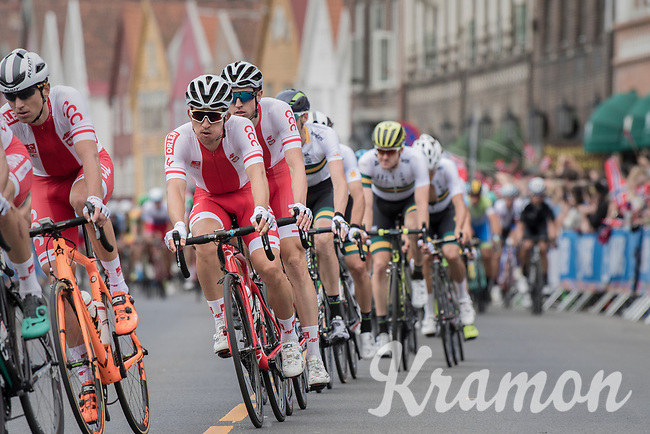 Michal Kwiatkowski (POL/SKY) racing in Bergen city center<br /> <br /> Men Elite Road Race<br /> <br /> UCI 2017 Road World Championships - Bergen/Norway