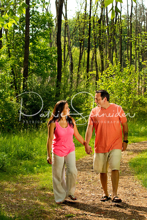 Lifestyle photography of Berewick, a 1,000-acre neighborhood development in Charlotte, NC (Steel Creek Area). Berewick was developed by Pappas Properties. Photo shows the walking / biking trail area.