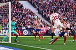 Jan Oblak of Atletico de Madrid and Sergio Reguilon of Sevilla during La Liga match between Atletico de Madrid and Sevilla FC at Wanda Metropolitano Stadium in Madrid, Spain. March 07, 2020. (ALTERPHOTOS/A. Perez Meca)