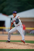 Auburn Doubledays pitcher Pedro Gonzalez (19) during a NY-Penn League game against the Batavia Muckdogs on September 1, 2019 at Dwyer Stadium in Batavia, New York.  Auburn defeated Batavia 3-1.  (Mike Janes/Four Seam Images)