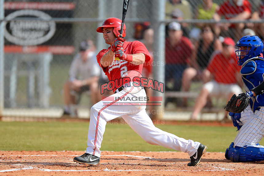 Ohio State Buckeyes second baseman Ryan Cypret #2 at bat during a game against the South Dakota State Jackrabbits at North Charlotte Regional Park on February 23, 2013 in Port Charlotte, Florida.  Ohio State defeated South Dakota State 5-2.  (Mike Janes/Four Seam Images)