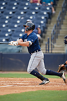 Lakeland Flying Tigers first baseman Blaise Salter (21) follows through on a swing during a game against the Tampa Tarpons on April 8, 2018 at George M. Steinbrenner Field in Tampa, Florida.  Lakeland defeated Tampa 3-1.  (Mike Janes/Four Seam Images)