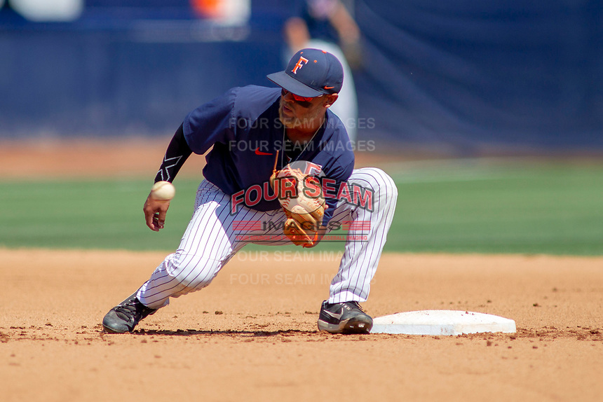 Cal State Fullerton Titans Sahid Valenzuela (4) during pre-game warm-ups against the University of Washington Huskies at Goodwin Field on June 08, 2018 in Fullerton, California. The University of Washington Huskies defeated the Cal State Fullerton Titans 8-5. (Donn Parris/Four Seam Images)